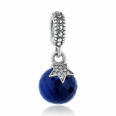 European Authentic 925 Sterling Silver & Blue Moon & Star Dangle Charm for Women