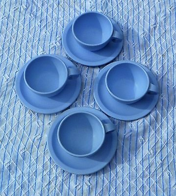 Vintage Dallas Ware Powder Blue Cup and Saucer Set Of 4 Heavy Melmac
