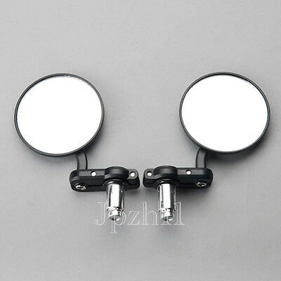 """Motorcycle 3"""" Round Handle Bar End 7/8"""" Mirrors Cafe Racer Clubman Black #Y5"""
