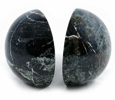 Set of heavy black marble sphere globe book ends bookends fab ornament or gift