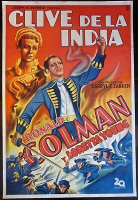 Cut $ 100! Clive Of India 1935 Argentinean Lb Poster - Amazing Ronald Colman Art