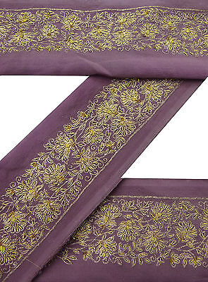 Vintage Indian Sari Border Used Embroidered 1YD Trim Sewing Mauve Ribbon Lace