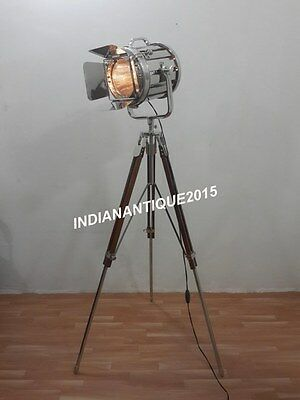 NAUTICAL SEARCHLIGHT VINTAGE Spotlight Floor Lamp With Tripod Stand ...