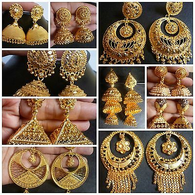Indian 22K Gold Plated Wedding Variations Different CZ Jhumka Earrings Jhumki