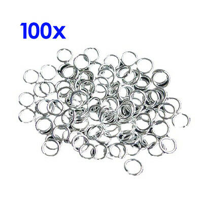 5x(4mm 21 Gauge Open Jump Rings - Silver Plated - 100 Pcs BF