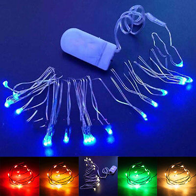 1M 10LED Copper Wire String Strip Lights For Cloth Christmas Lamp W/Battery Case