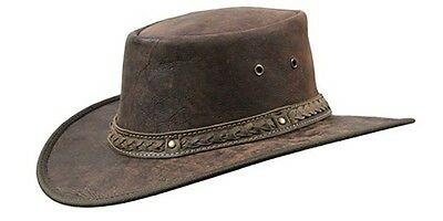 Barmah Squashy Crackle Kangaroo Leather Hat