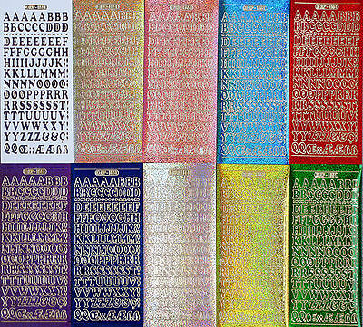 12mm (1.2cm) Holographic UPPERCASE ALPHABETS PEEL OFF STICKERS Letters Alphabet