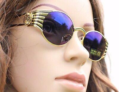 Vintage Deadstock 1990s Gold Mirrored Sunglasses Shades Coin Medallion Grunge