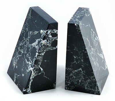 Set of heavy black marble wedge book ends bookends fab ornament or gift