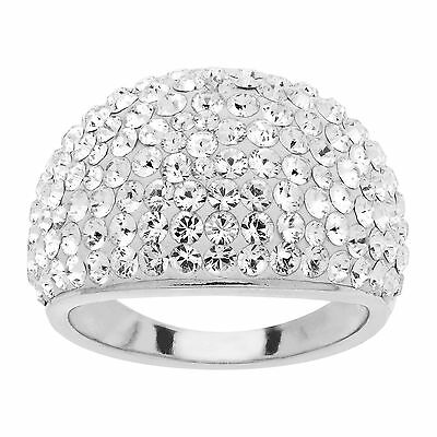 Crystaluxe Ring with White Swarovski Crystals in Sterling Silver