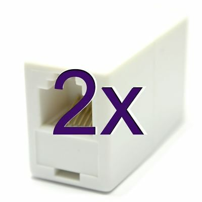 [2 pack] RJ12 6P6C 6 Pin Female Coupler Adapter for Joining Cables [005575]