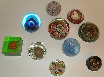 Lot of 10 Antique and Vintage Mixed Materials Paperweights