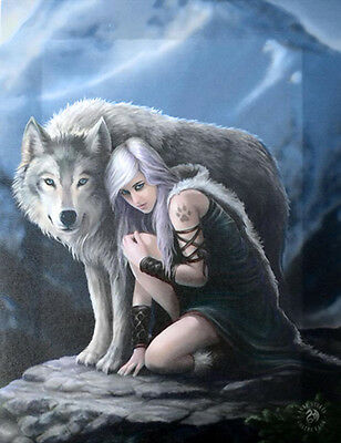 """Protector Wolf Canvas Art Print by Anne Stokes 10"""" x 7"""""""