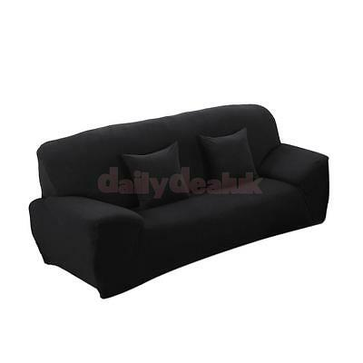 Spandex Stretch 3-Seater Sofa Couch Seat Lounge Cover Slipcover Decor Black