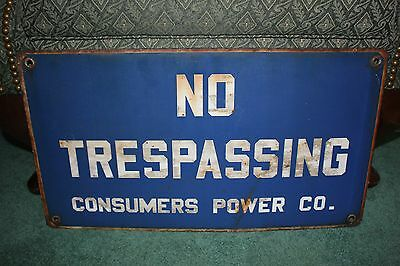 Vintage Consumers Power Co. No Trespassing porcelain sign NICE shape!