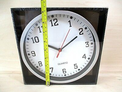 """Large 9"""" Quartz Wall Clock - White Face Silver Surround Large Numbers  Brand New"""