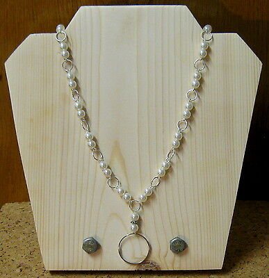Silver White PEARL - ID Badge Eyeglass Lanyard Chain Necklace