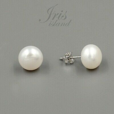 10 mm White Pearl Wedding Sterling Silver Stud Earrings Cultured Freshwater 428