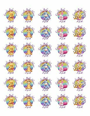 60 Winnie the Pooh Baby Shower Stickers Lollipop Labels Party Favors 1.5 in