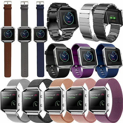 Magnetic Milanese/Leather/Stainless Steel Watch Band Strap For Fitbit Blaze