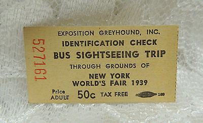 RARE 1939 New York Worlds Fair Exposition Greyhound Siteseeing Ticket