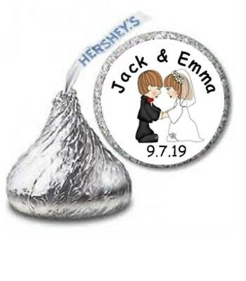 108 Wedding Cute Couple Hershey Kisses Labels Stickers Personalized Favors