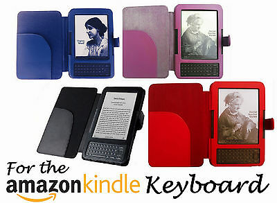 Leather Case Cover Wallet For Amazon Kindle 3 Keyboard Model