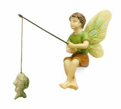 "2.75"" My Fairy Gardens Mini Figure - Fishing Boy - Miniature Figurine Decor"