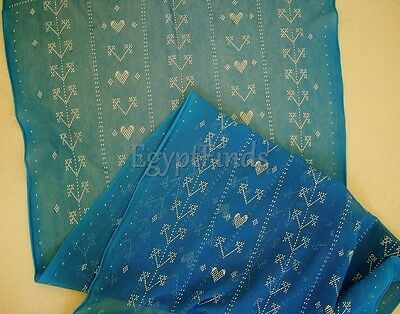 Soft Egyptian Assiut Assuit Tulle Turquoise Wide HipScarf Shawl Wrap Veil