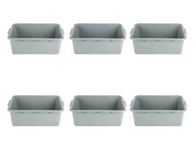 "6-Pack 20"" x 15"" x 7"" Gray Polypropylene Plastic Bus Tubs, Dish Bus Boxes"