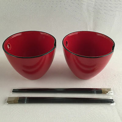NEW METRO: STYLE ORIENTAL ROUND NOODLE BOWLS w/ CHOPSTICKS - RED (Set of 2)