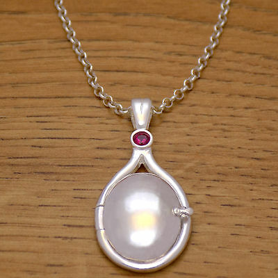 925 Sterling Silver H2O Just Add Water Mermaids Red CZ Locket Necklace & Chain