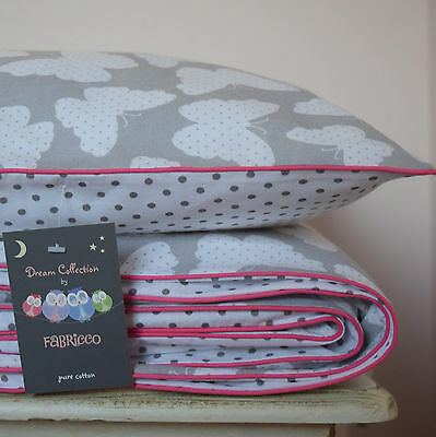 COTTON Cot Bed Duvet Cover Set Grey  Butterfly Dots Girls reversible baby