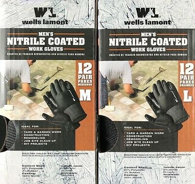 12 Pair Pack - Wells Lamont Nitrile Coated Work Gloves MED or LRG - Quality