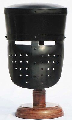 Medieval Black Knight Ancient Armour Helmet Collectible SugarLoaf Helmet w Stand
