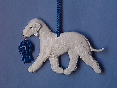Bedlington Terrier with blue ribbon. Artist dog breed ornament!