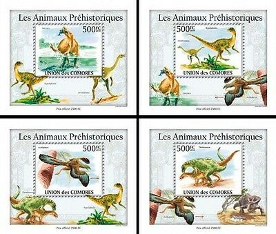 Z08 Cmdelux01perf COMORES 2010 Dinosaurs 4 x s/s MNH