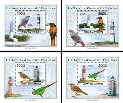 Z08 Cmdelux08perf COMORES 2010 Birds and lighthouses 4 x s/s MNH