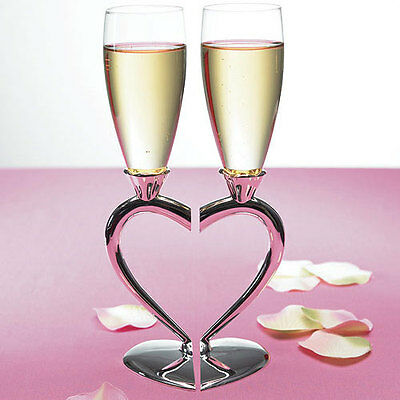 Engraved Silver Plated Interlocking Heart Toasting Flutes Glasses Wedding Q17458