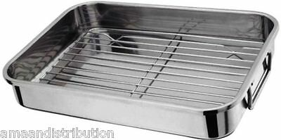 STAINLESS STEEL ROASTING TRAY OVEN PAN DISH BAKING ROASTER GRILL MEDIUM 32x 23cm