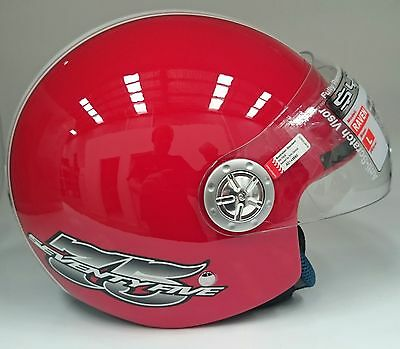 M Medium Raven Open Face Helmet Visor Motorbike Scooter Honda Vespa Piaggio Red
