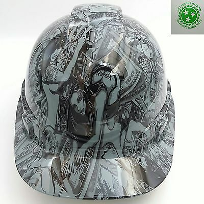 Hard Hat custom hydro dipped ,HUSTLER GIRLS  STEEL GREY BULLARD OSHA APPROVED