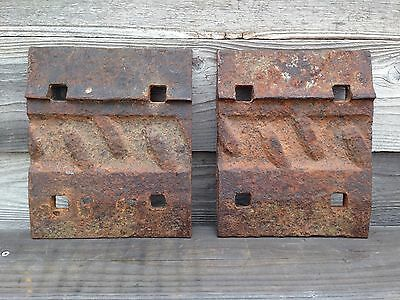 Two Vintage Cast Iron Railroad Tie Plates  ~ Vintage Cast Iron Hardware