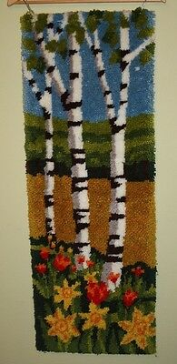 Latch Hook Rug Vtg MCM Birch Trees Finished Hanging Art Mid Century Shag Mod