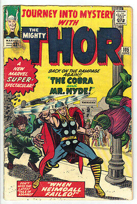 JOURNEY INTO MYSTERY #105 (VG-) THE MIGHTY THOR! Mr Hyde & Cobra Appearance 1964