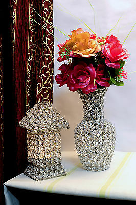 Crystal Glass Beads Flower Vase Wedding Centrepieces Home Decor Flower Pot 24CM