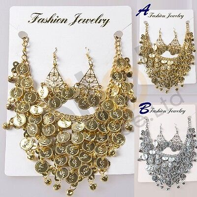 AU Bollywood Necklace Eearrings Indian Dance Coin Jewellery wedding Accessories