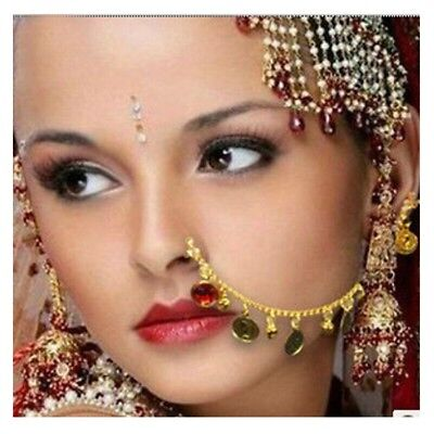 AU Belly Dance Accessories Coins veil Indian Dance Ear & Nose Chain jewelry