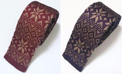 NEW Men's Fashion Christmas Snowflake Knit Knitted Tie Slim Woven